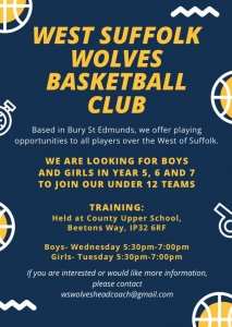 West Suffolk Wolves Under 12 Basketball Team